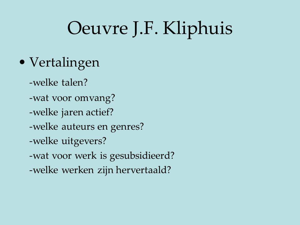 Oeuvre J.F. Kliphuis Vertalingen -welke talen -wat voor omvang
