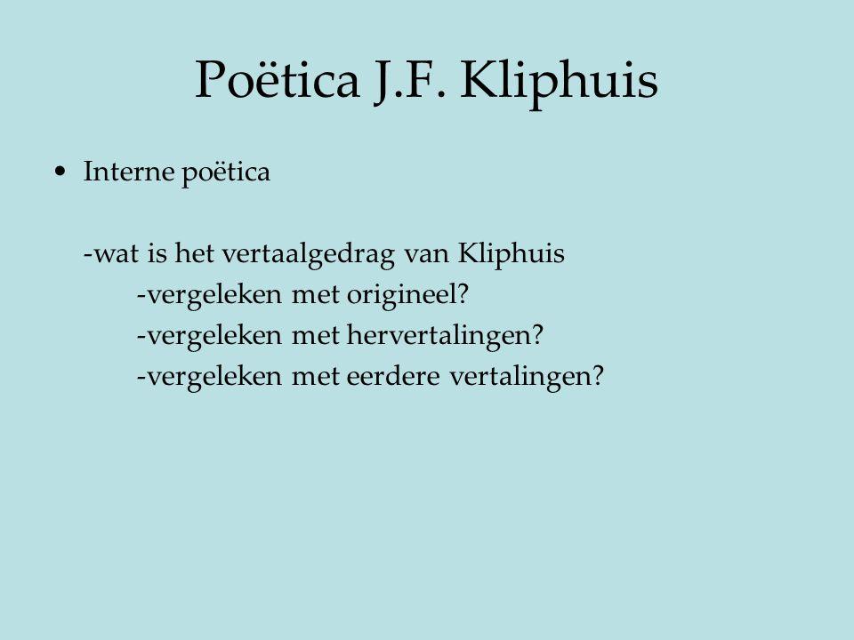 Poëtica J.F. Kliphuis Interne poëtica
