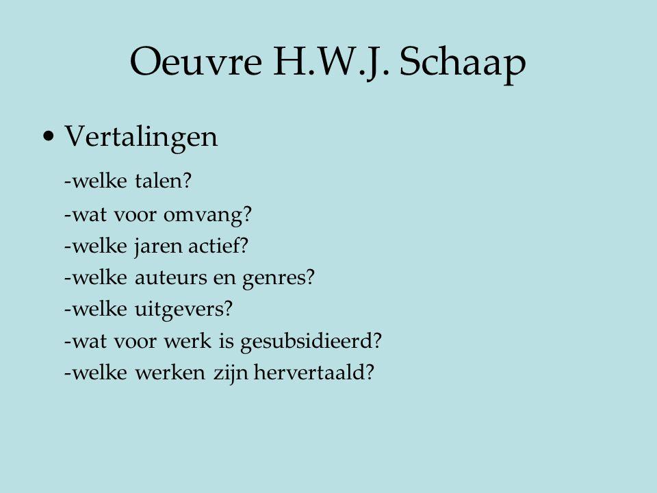 Oeuvre H.W.J. Schaap Vertalingen -welke talen -wat voor omvang