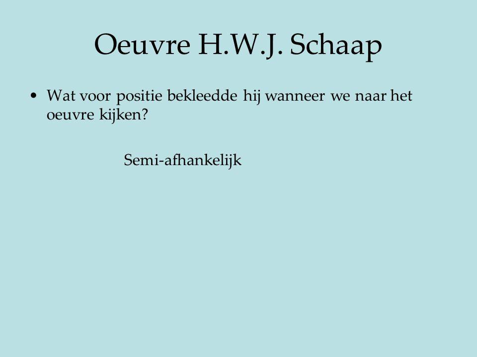 Oeuvre H.W.J. Schaap Wat voor positie bekleedde hij wanneer we naar het oeuvre kijken.