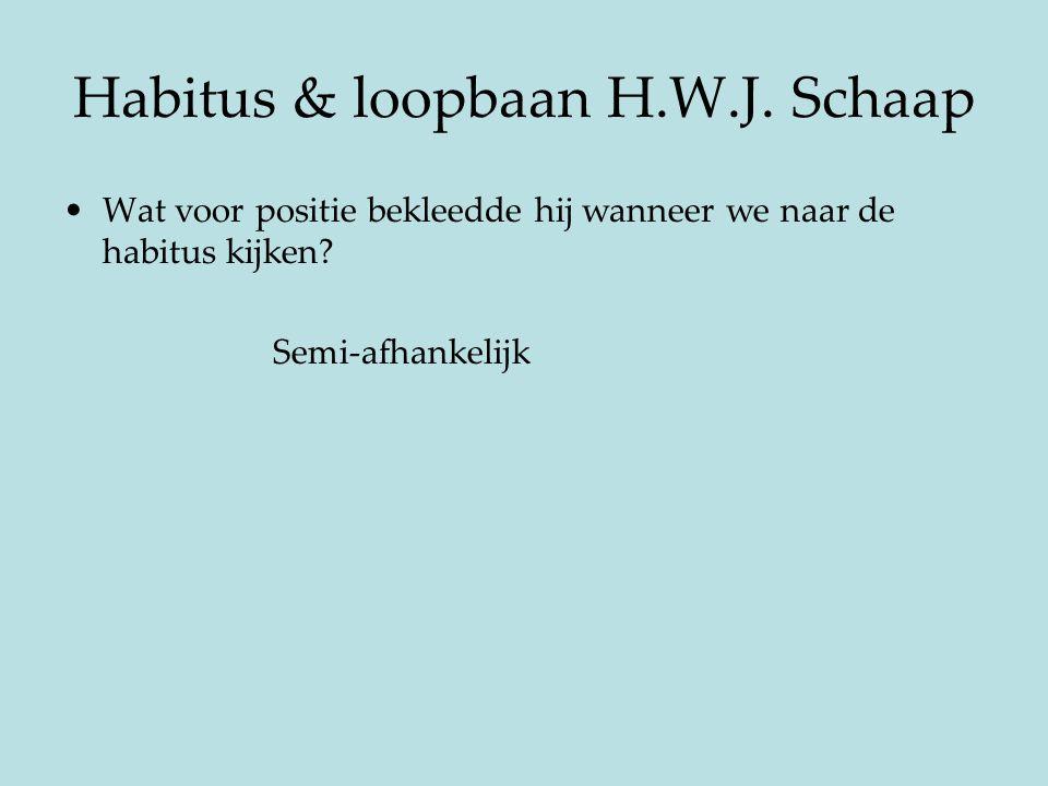 Habitus & loopbaan H.W.J. Schaap
