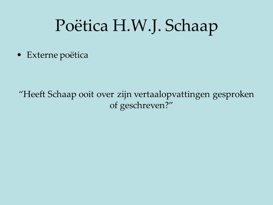 Poëtica H.W.J. Schaap Externe poëtica