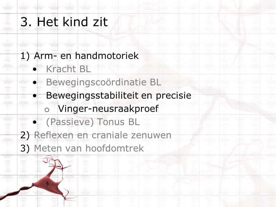 3. Het kind zit Arm- en handmotoriek Kracht BL Bewegingscoördinatie BL