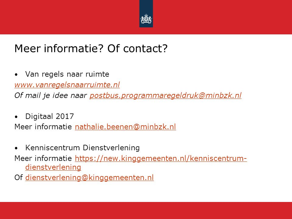 Meer informatie Of contact