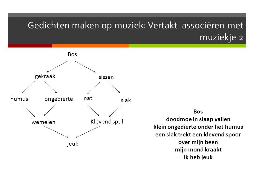 Gedichten maken op muziek: Vertakt associëren met muziekje 2