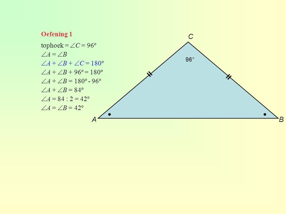 ∙ ∙ C ll ll A B Oefening 1 tophoek = C = 96º A = B
