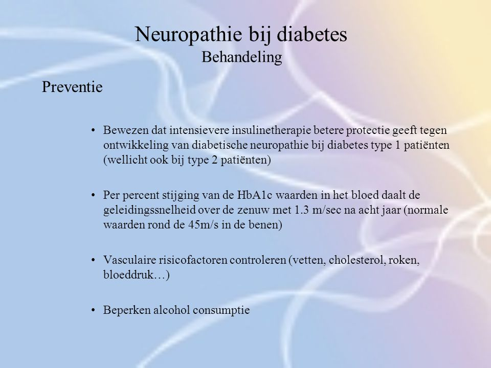 Neuropathie bij diabetes Behandeling