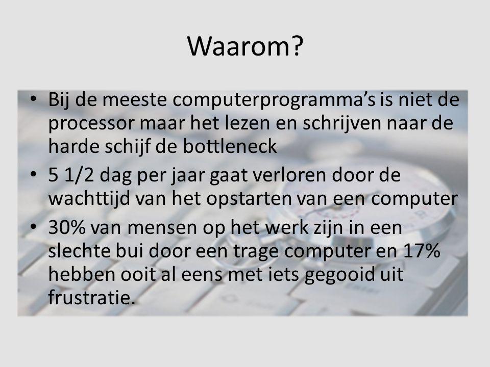 Waarom Bij de meeste computerprogramma's is niet de processor maar het lezen en schrijven naar de harde schijf de bottleneck.