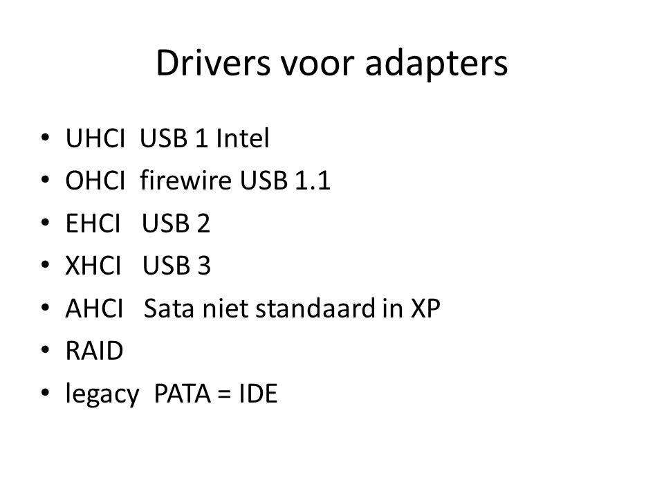 Drivers voor adapters UHCI USB 1 Intel OHCI firewire USB 1.1