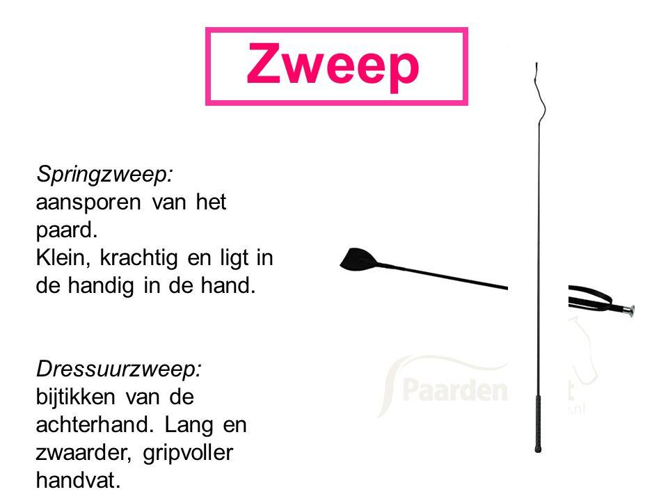 Zweep Springzweep: aansporen van het paard. Klein, krachtig en ligt in de handig in de hand.