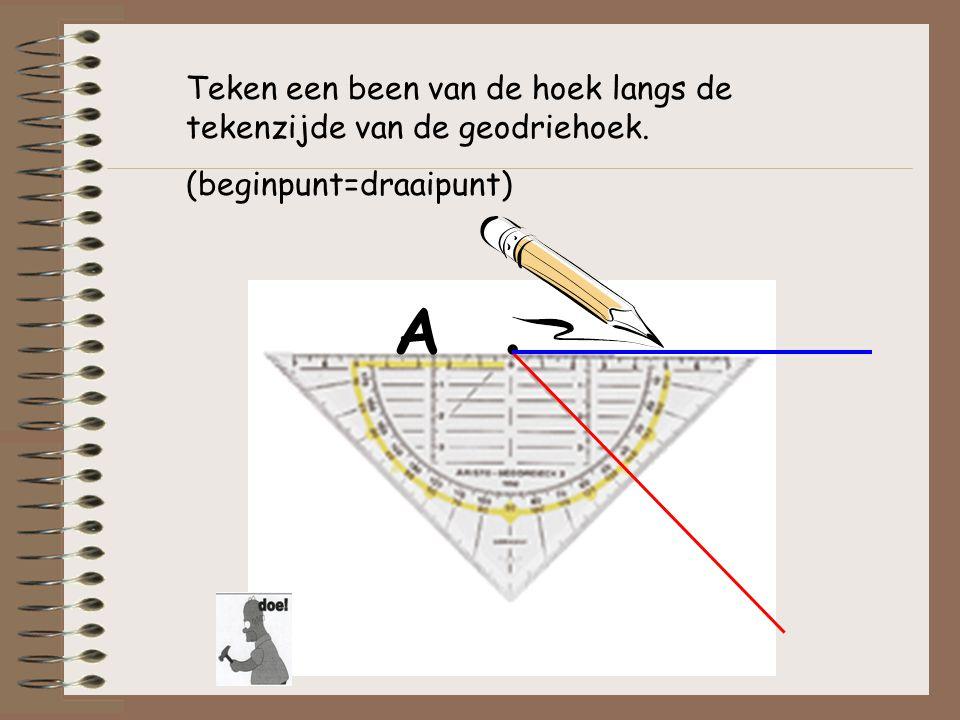 A . Teken een been van de hoek langs de tekenzijde van de geodriehoek.