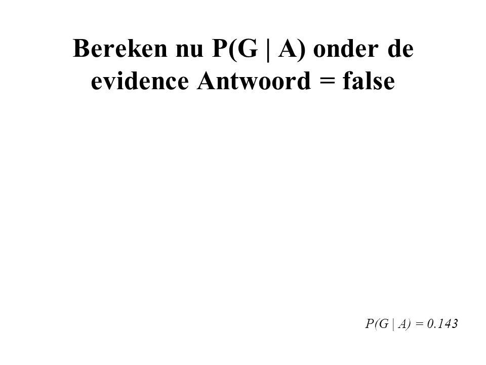 Bereken nu P(G | A) onder de evidence Antwoord = false