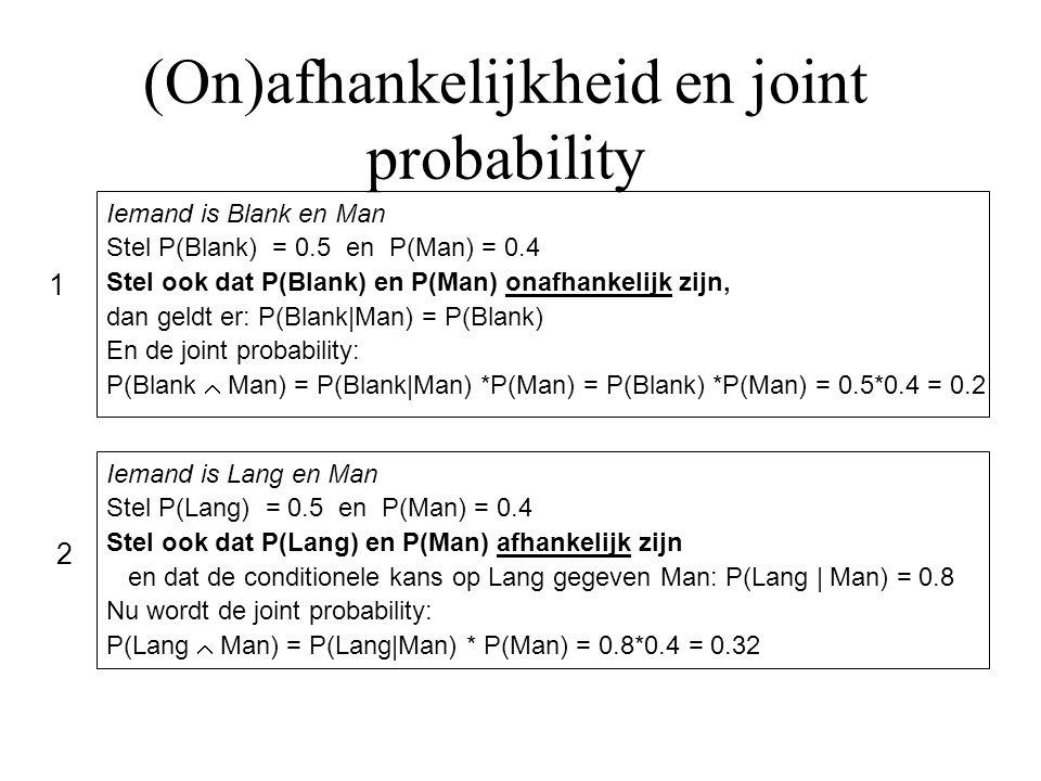 (On)afhankelijkheid en joint probability