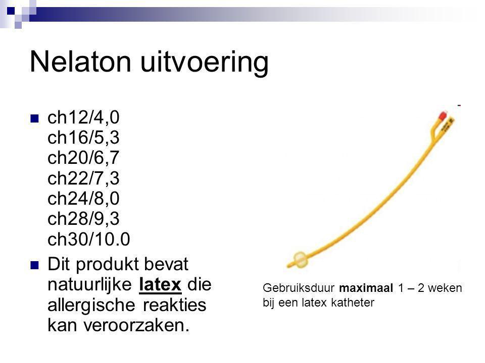Nelaton uitvoering ch12/4,0 ch16/5,3 ch20/6,7 ch22/7,3 ch24/8,0 ch28/9,3 ch30/10.0.