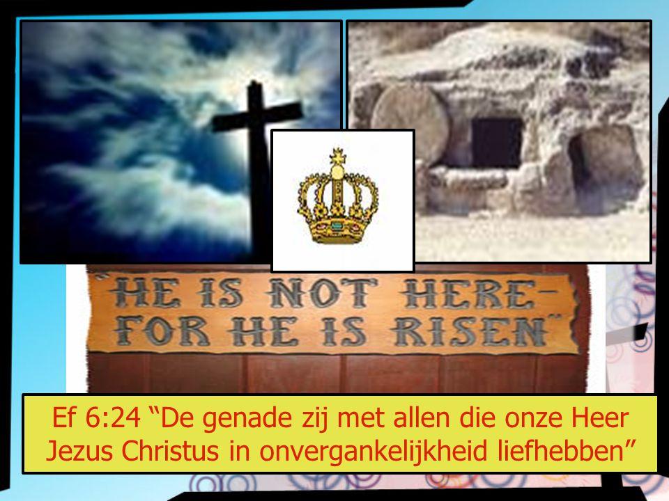 Ef 6:24 De genade zij met allen die onze Heer Jezus Christus in onvergankelijkheid liefhebben