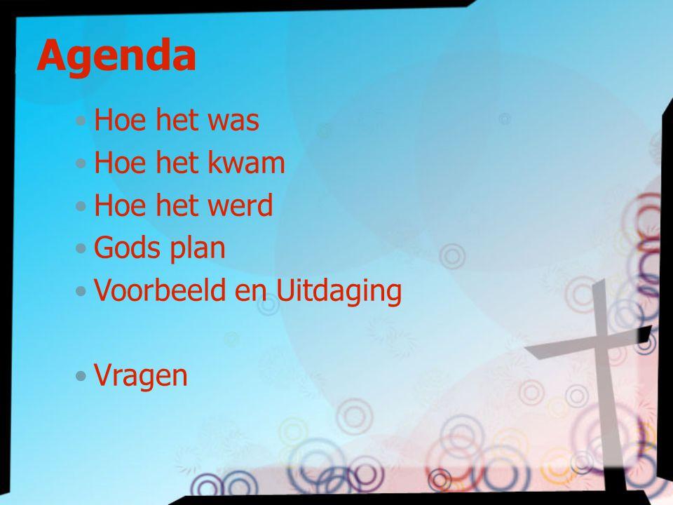 Agenda Hoe het was Hoe het kwam Hoe het werd Gods plan