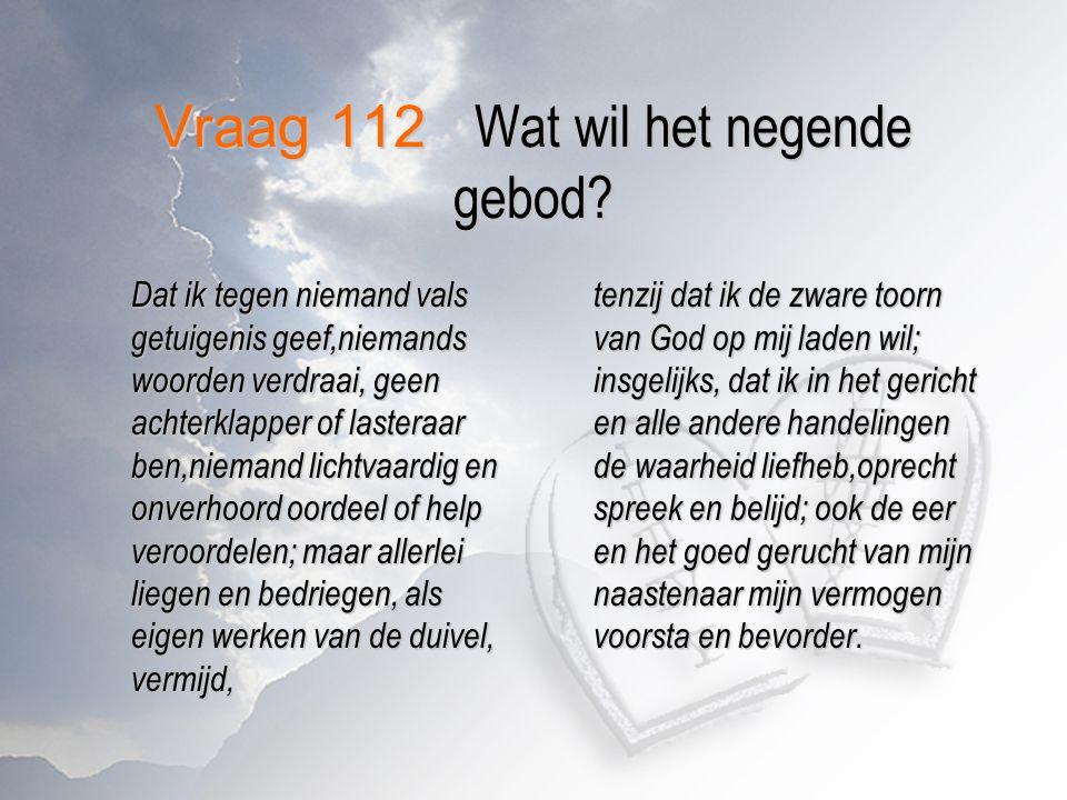 Vraag 112 Wat wil het negende gebod