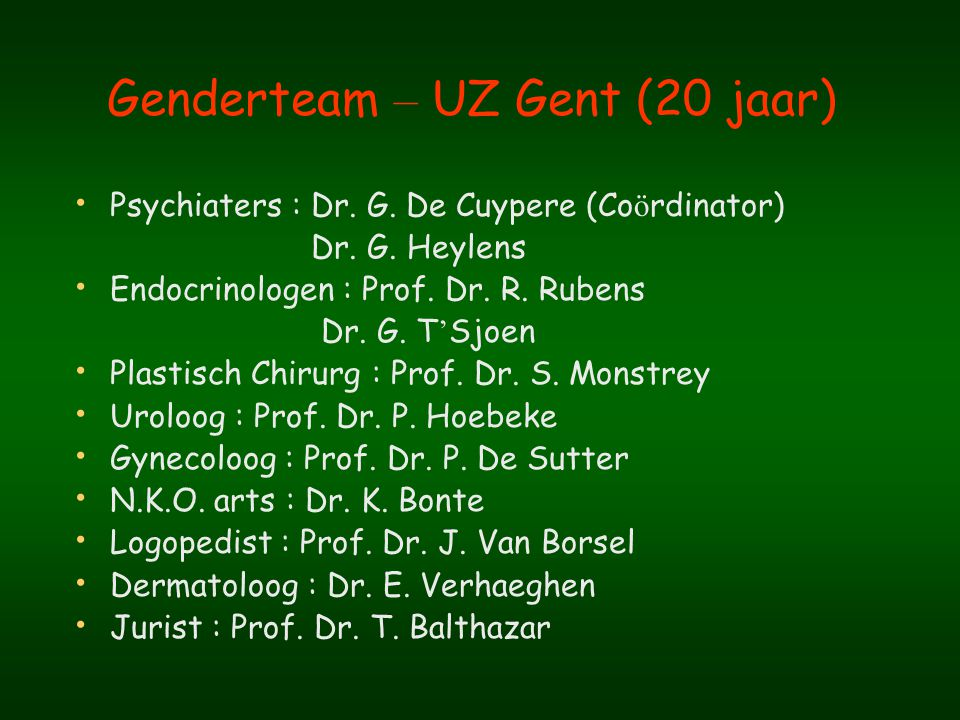 Genderteam – UZ Gent (20 jaar)