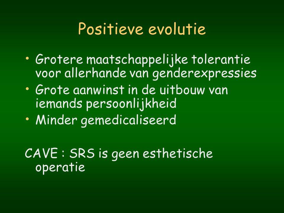 Positieve evolutie Grotere maatschappelijke tolerantie voor allerhande van genderexpressies.