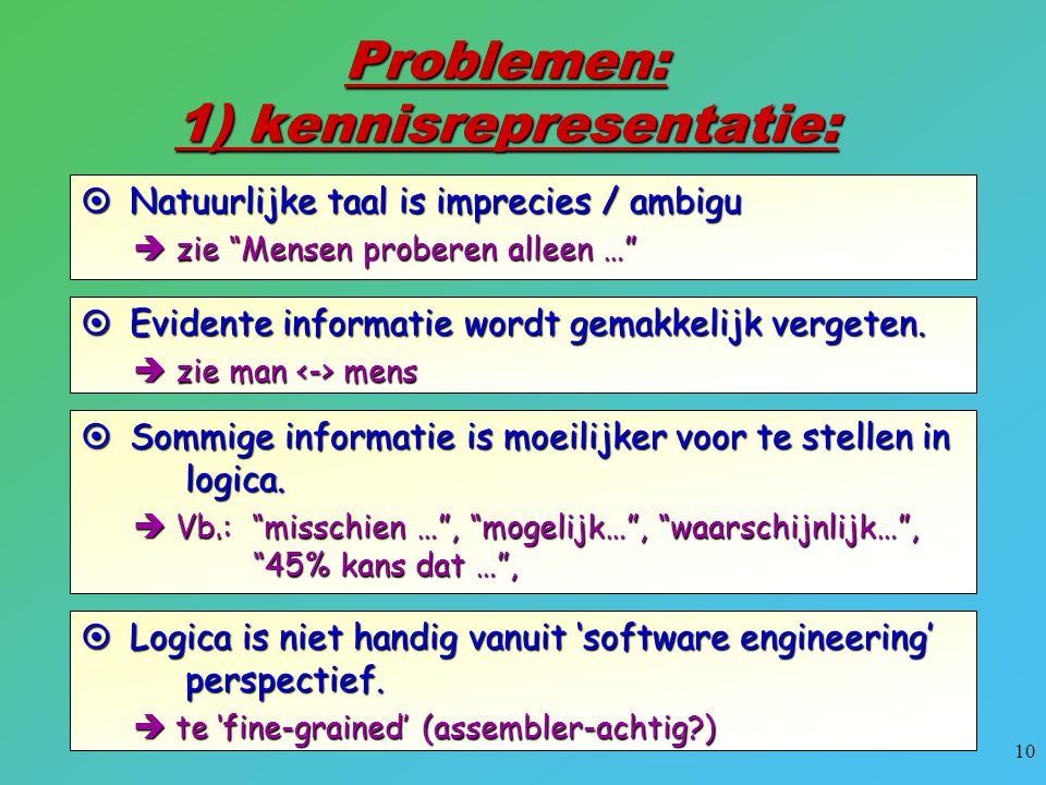 Problemen: 1) kennisrepresentatie: