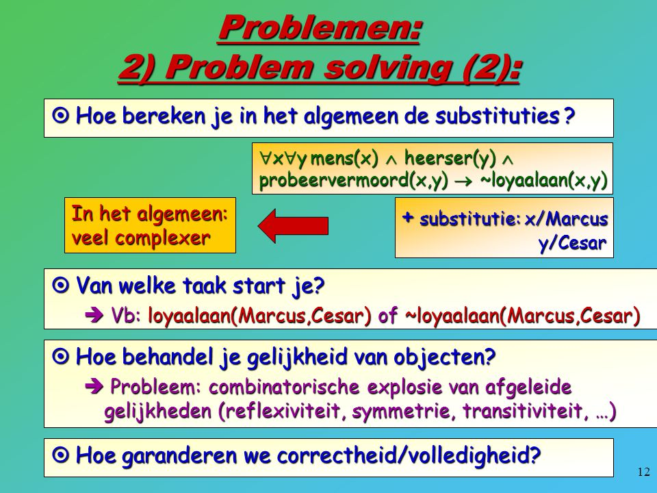 Problemen: 2) Problem solving (2):
