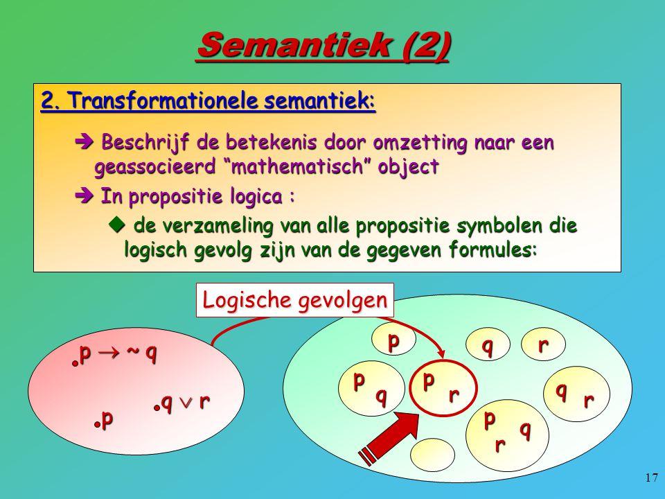 Semantiek (2) 2. Transformationele semantiek: Logische gevolgen p