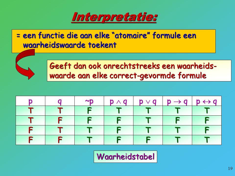 Interpretatie: = een functie die aan elke atomaire formule een waarheidswaarde toekent.