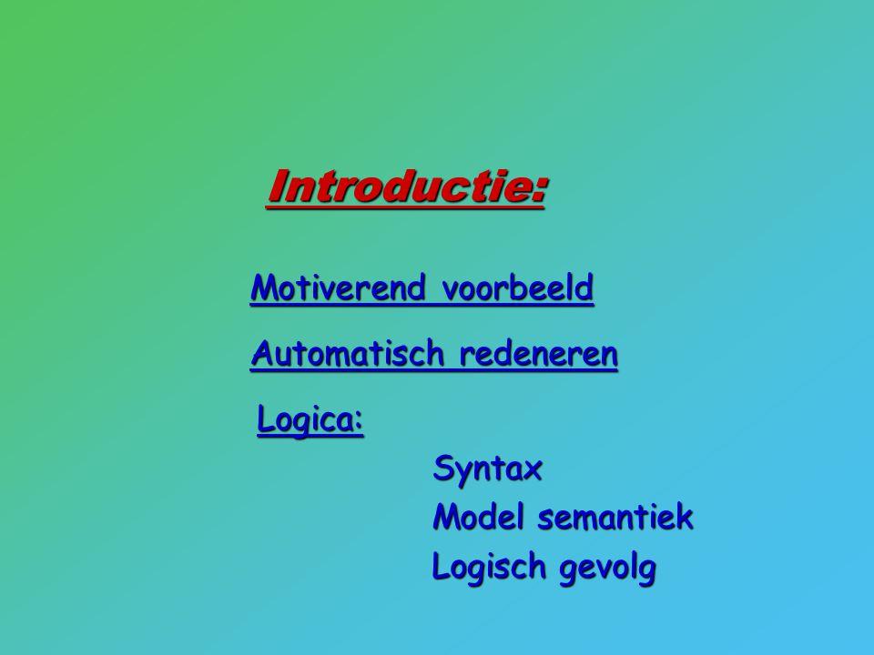 Introductie: Syntax Model semantiek Logisch gevolg