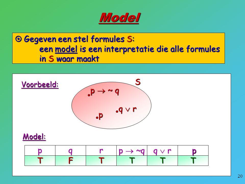 Model Gegeven een stel formules S: een model is een interpretatie die alle formules in S waar maakt.