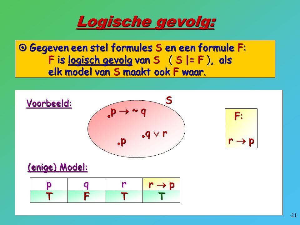 Logische gevolg: Gegeven een stel formules S en een formule F: F is logisch gevolg van S ( S |= F ), als elk model van S maakt ook F waar.