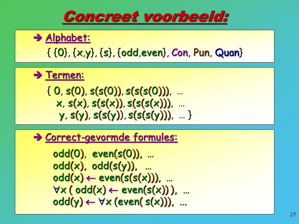 Concreet voorbeeld: { {0}, {x,y}, {s}, {odd,even}, Con, Pun, Quan}