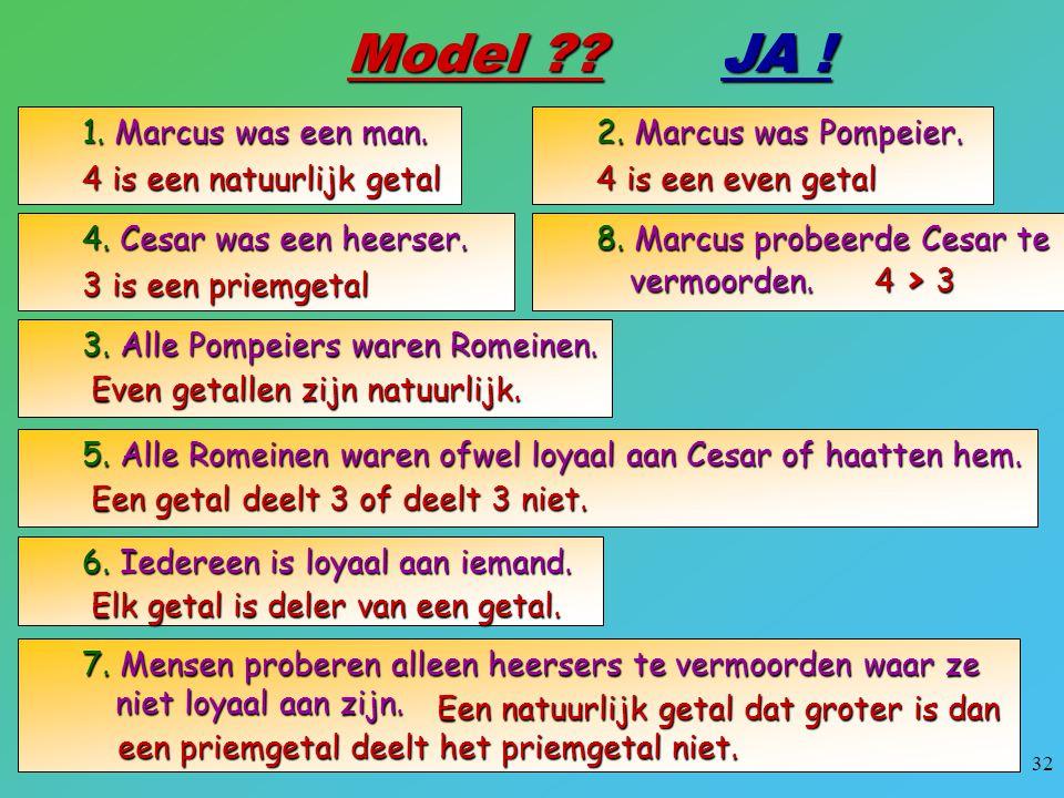 Model JA ! 1. Marcus was een man. 4 is een natuurlijk getal