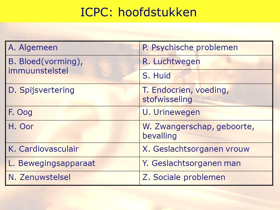 ICPC: hoofdstukken Algemeen P. Psychische problemen