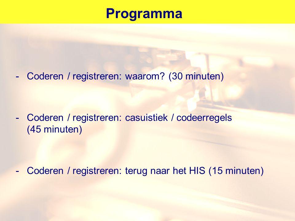 Programma Coderen / registreren: waarom (30 minuten)