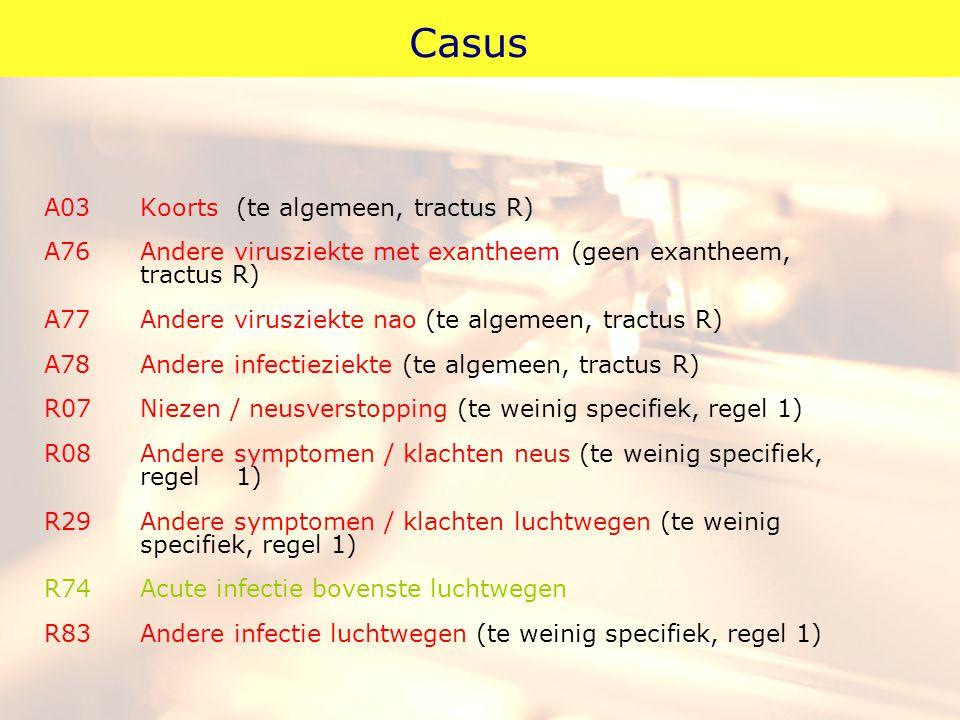 Casus A03 Koorts (te algemeen, tractus R)