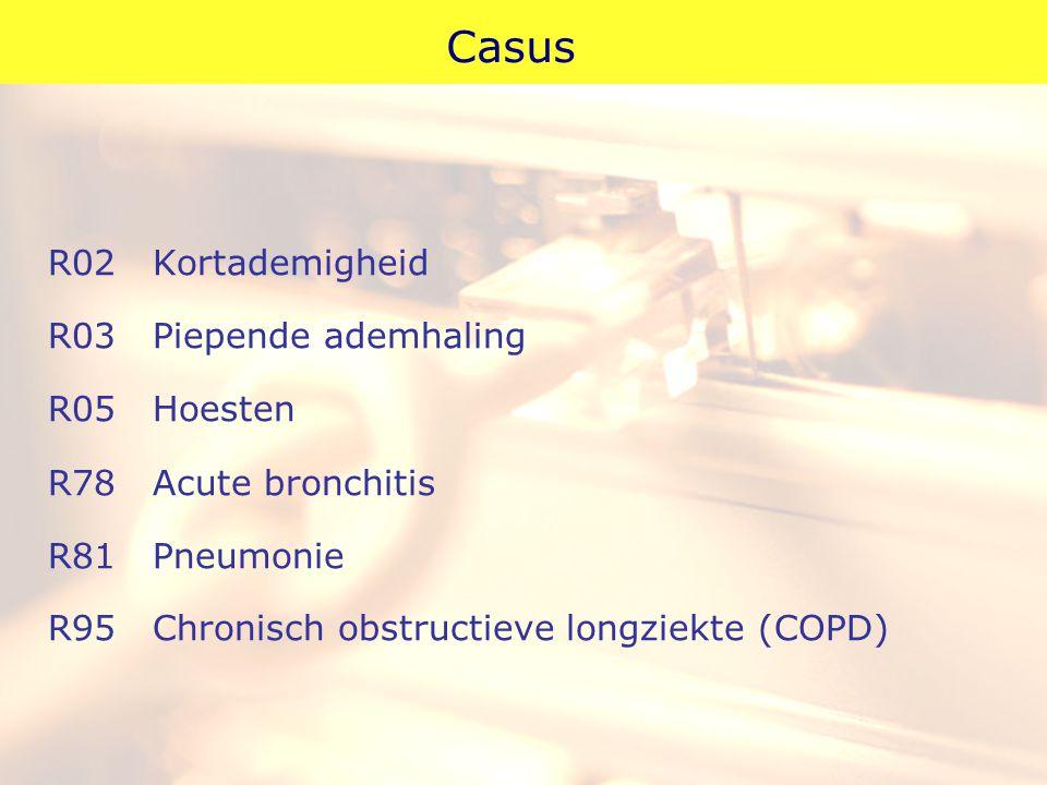 Casus R02 Kortademigheid R03 Piepende ademhaling R05 Hoesten