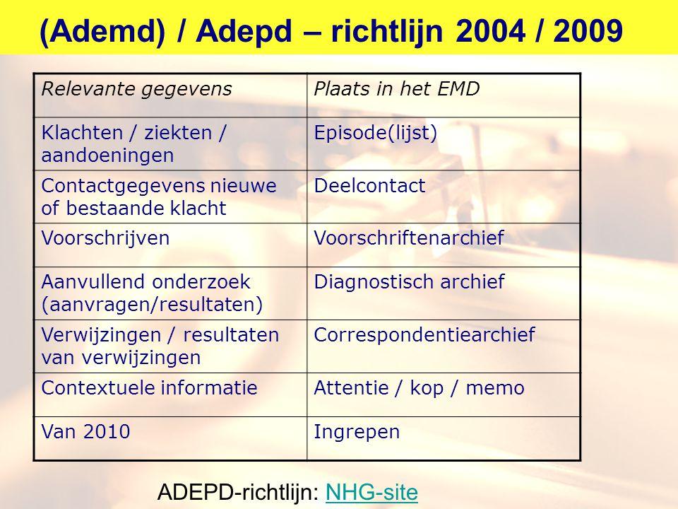 (Ademd) / Adepd – richtlijn 2004 / 2009