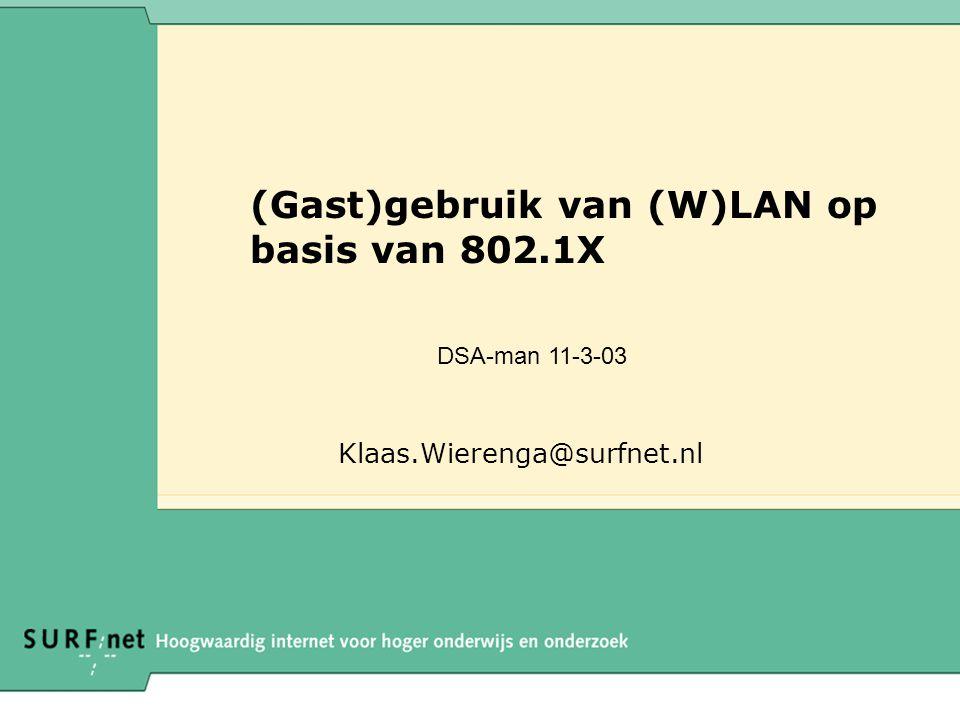 (Gast)gebruik van (W)LAN op basis van 802.1X