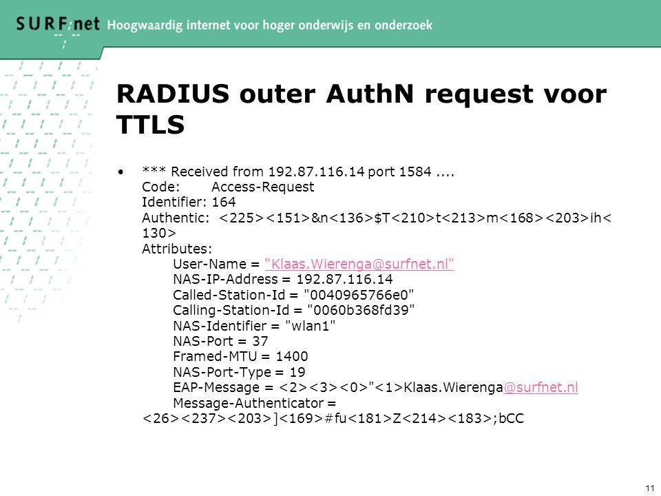 RADIUS outer AuthN request voor TTLS