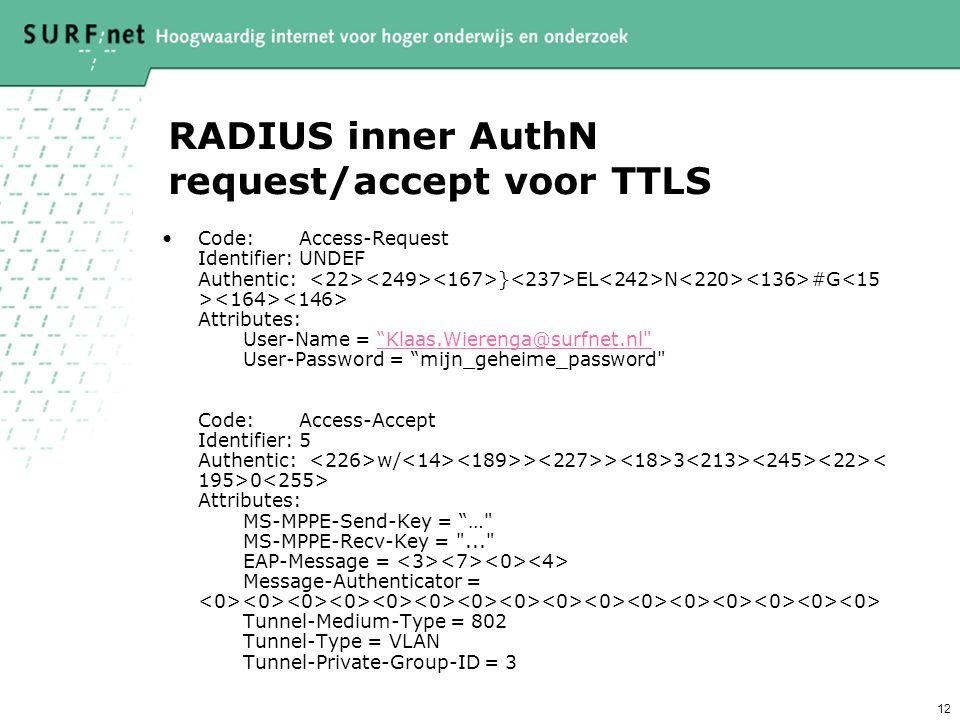 RADIUS inner AuthN request/accept voor TTLS