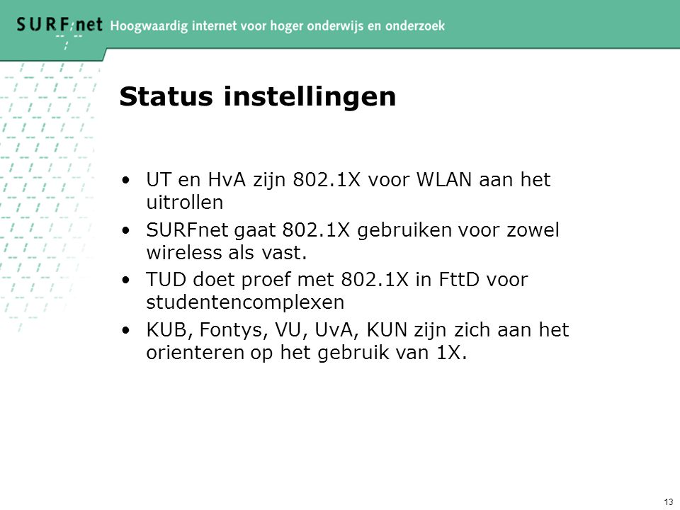 Status instellingen UT en HvA zijn 802.1X voor WLAN aan het uitrollen