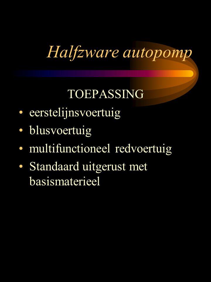 Halfzware autopomp TOEPASSING eerstelijnsvoertuig blusvoertuig