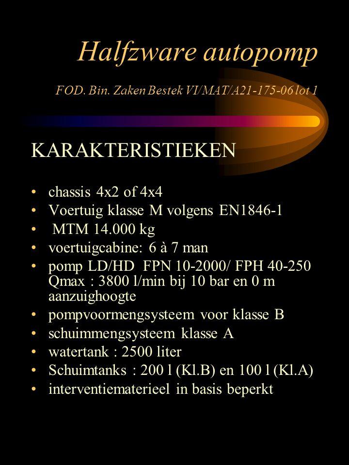 Halfzware autopomp FOD. Bin. Zaken Bestek VI/MAT/A21-175-06 lot 1