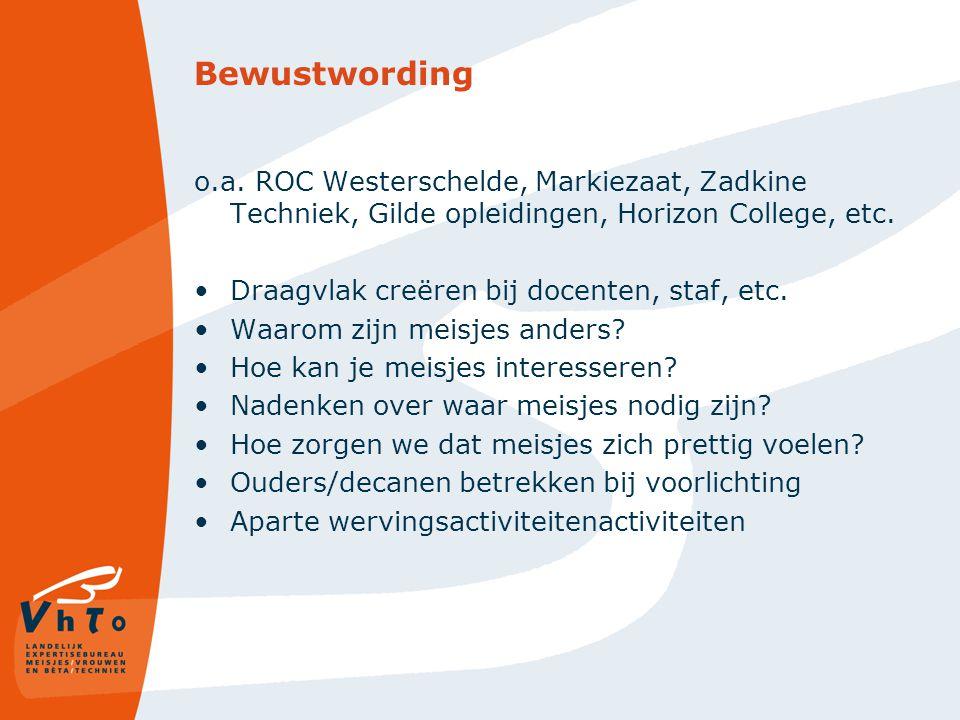 Bewustwording o.a. ROC Westerschelde, Markiezaat, Zadkine Techniek, Gilde opleidingen, Horizon College, etc.