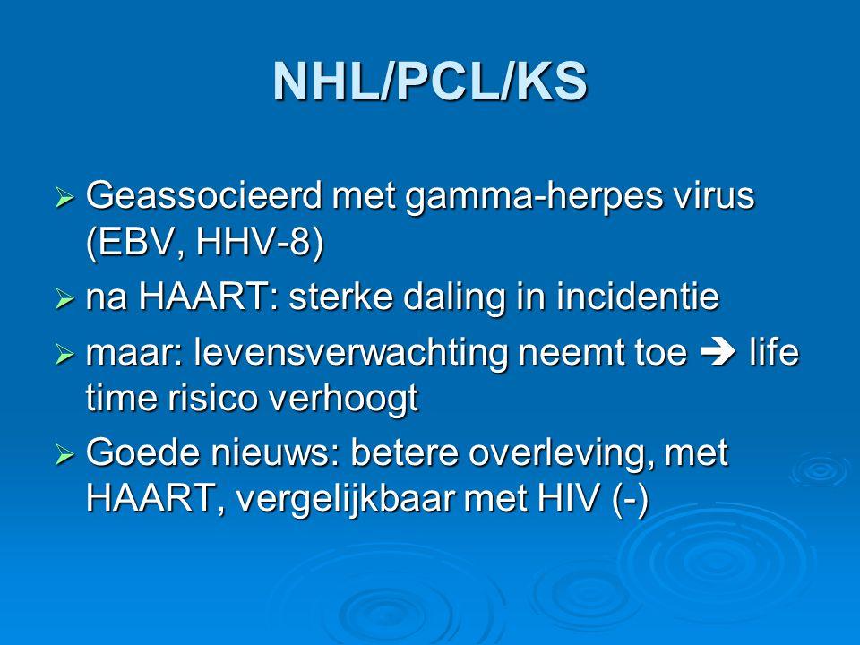 NHL/PCL/KS Geassocieerd met gamma-herpes virus (EBV, HHV-8)