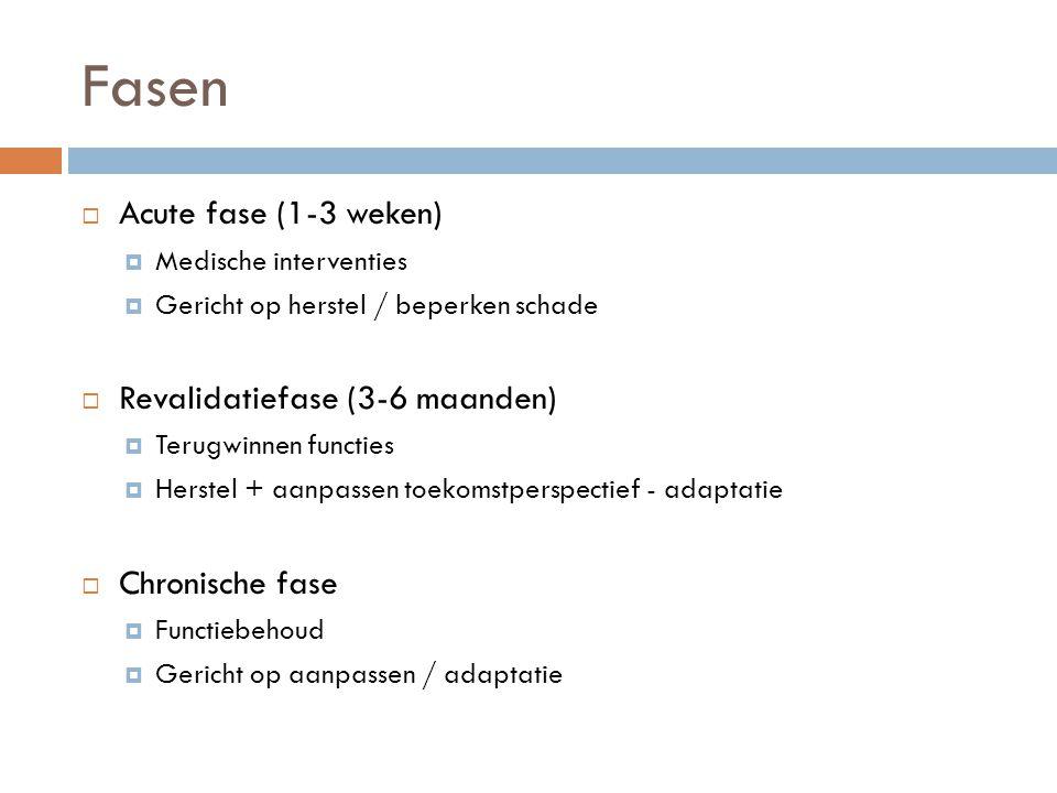 Fasen Acute fase (1-3 weken) Revalidatiefase (3-6 maanden)