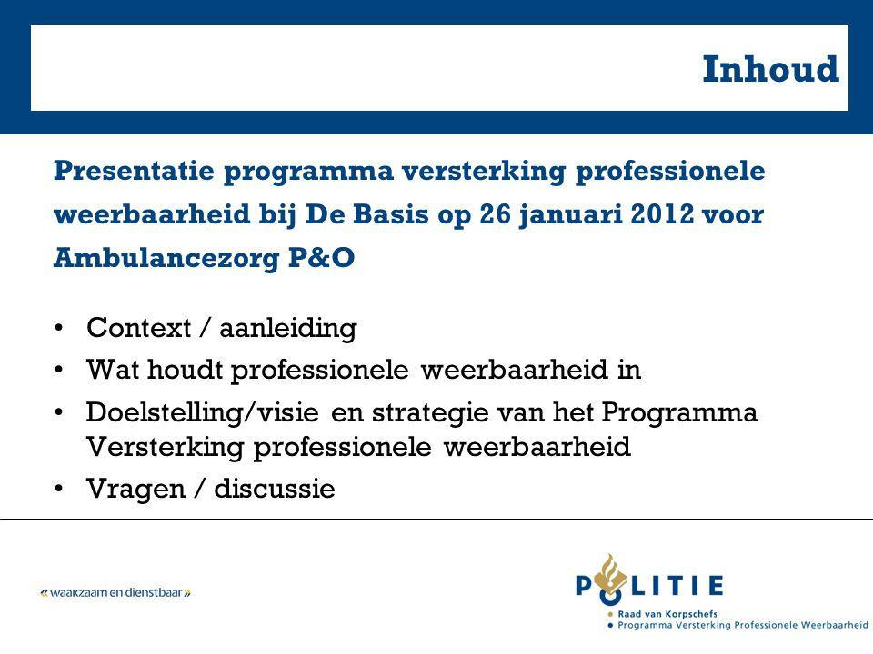 Inhoud Presentatie programma versterking professionele