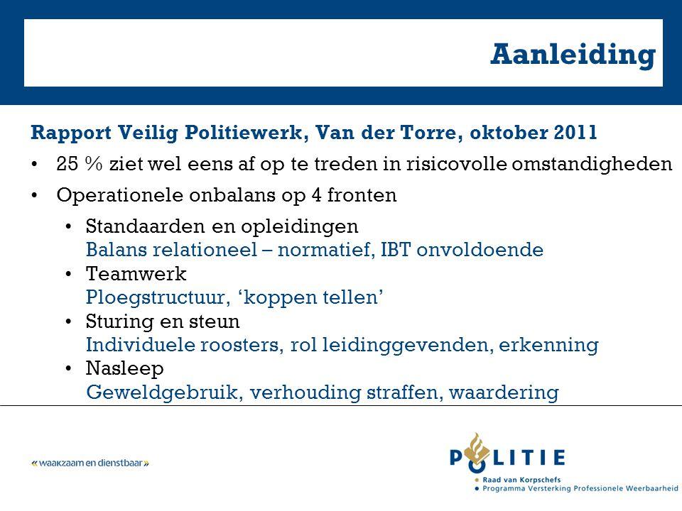 Aanleiding Rapport Veilig Politiewerk, Van der Torre, oktober 2011