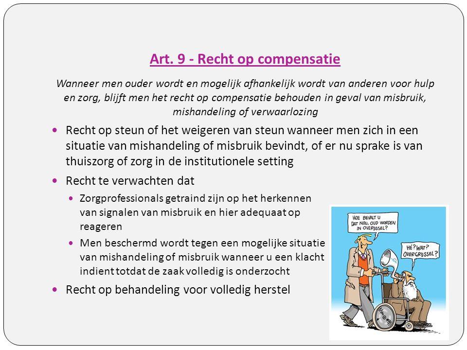 Art. 9 - Recht op compensatie