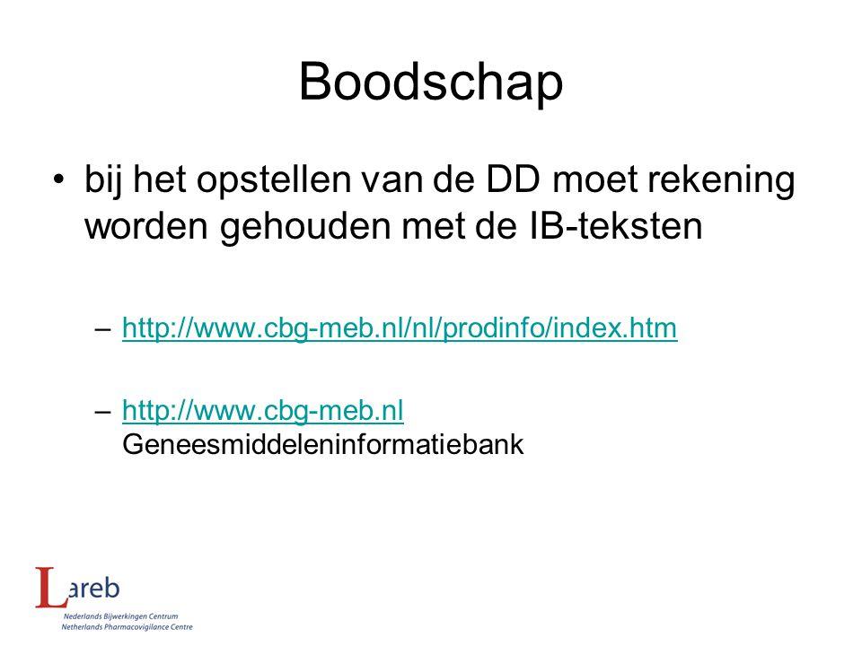 Boodschap bij het opstellen van de DD moet rekening worden gehouden met de IB-teksten. http://www.cbg-meb.nl/nl/prodinfo/index.htm.